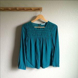 Anthropologie Meadow Rue teal blouse